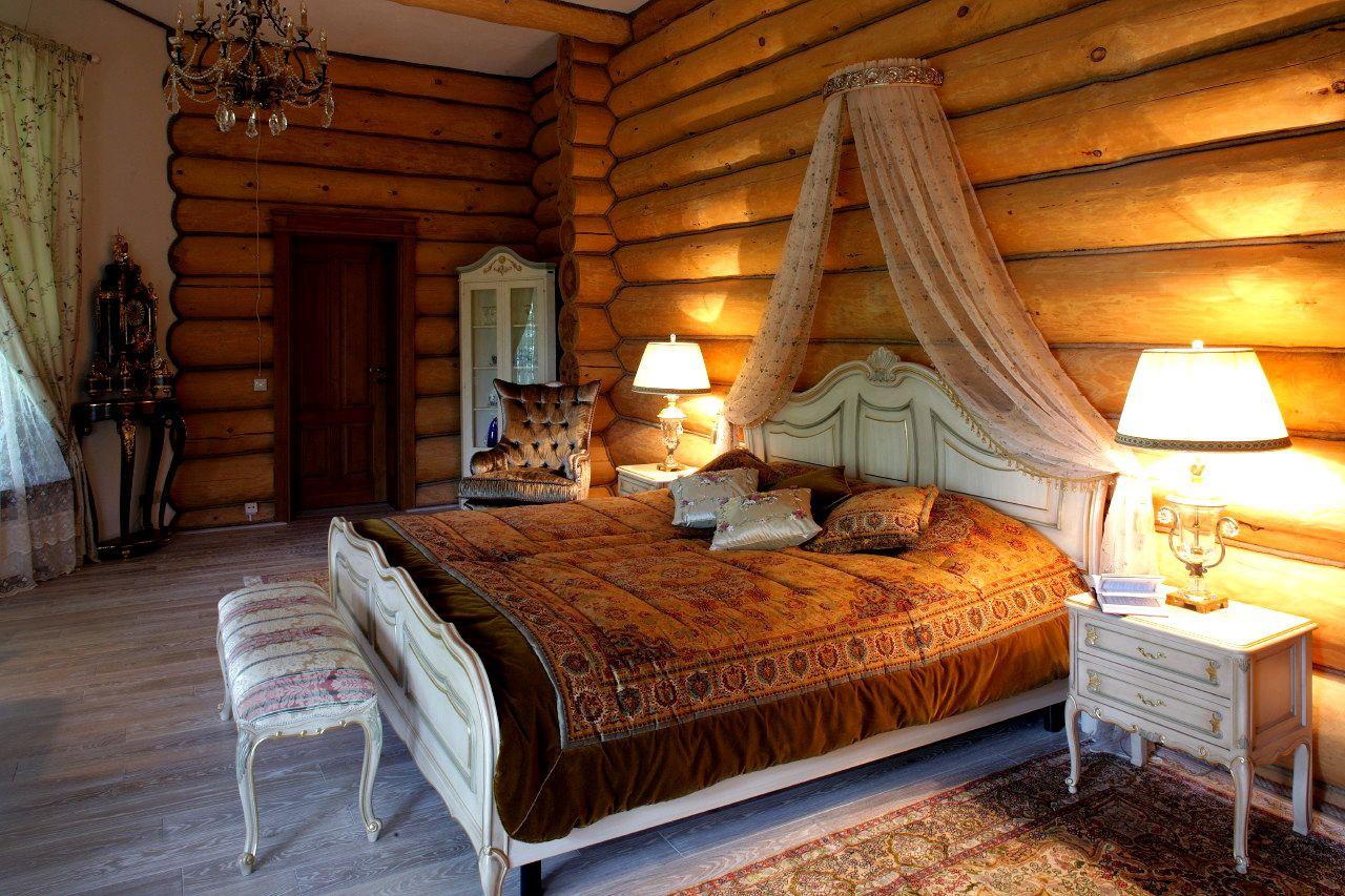 Деревянный дом интерьер спальни