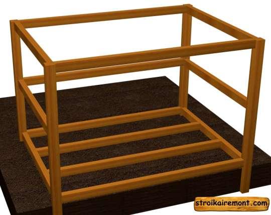 Строительство лаг деревянной беседки