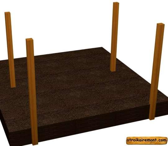 Строительство основания деревянной беседки