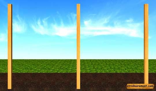 Строительство деревянного забора столбы