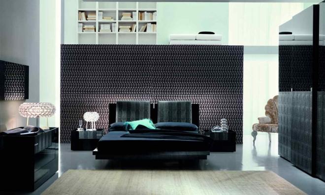 Интерьер спальни с черной мебелью