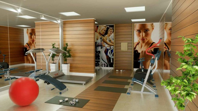 Дизайн фитнес-комнаты – максимум простора для занятий спортом