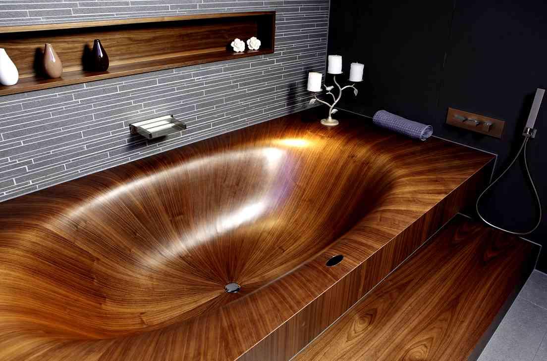 Дизайн ванной с деревом 5