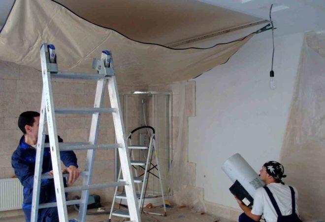 Гарпунные натяжные потолки