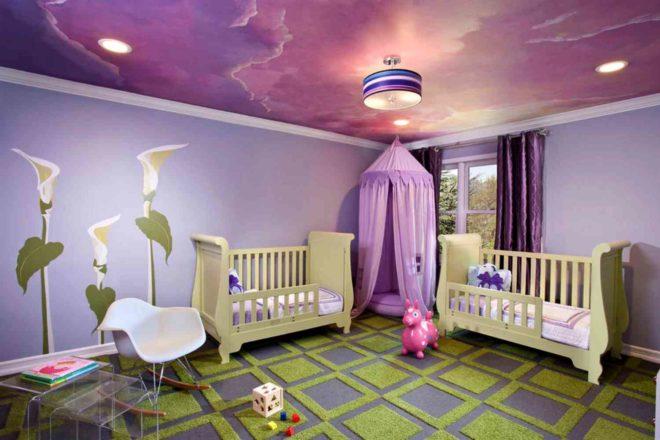 натяжные потолки для детской спальни