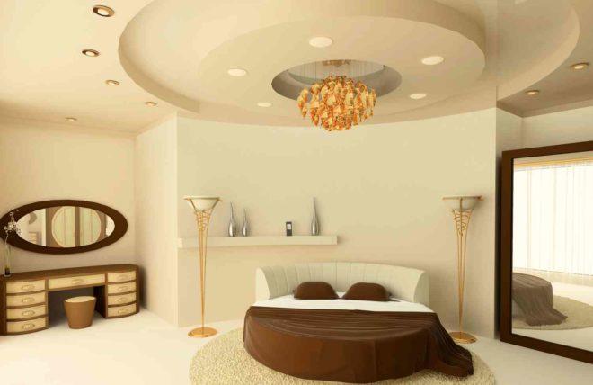 потолок из гипсокартона в спальню