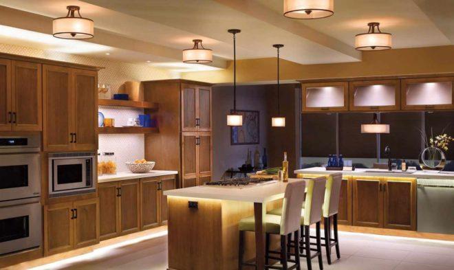 Как расположить светильники на кухне