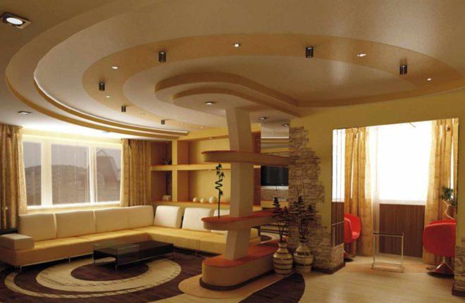 натяжных потолков в гостиной