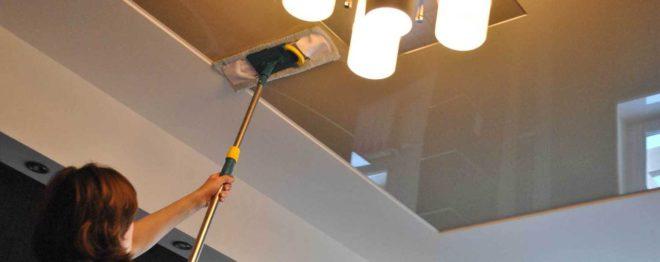 Как ухаживать за натяжными потолками на кухне 3